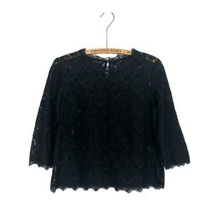 Talbots Black Lace Top